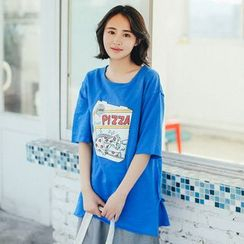 11.STREET - Printed Elbow-Sleeve T-shirt