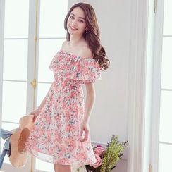 Tokyo Fashion - Floral Print Off-Shoulder Dress