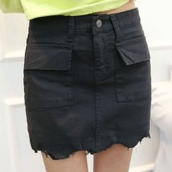 DANI LOVE - Dual-Pocket Fray-Hem Skort