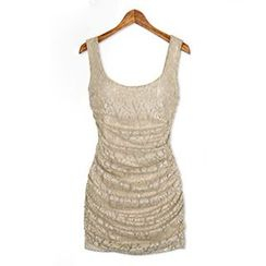 Eloqueen - Sleeveless Shirred Lace Minidress