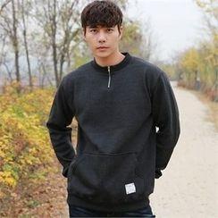 BYMONO - Zip-Neck Brushed-Fleece Lined Sweatshirt
