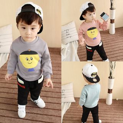 POMME - Kids Set: Cartoon Applique Pullover + Pants