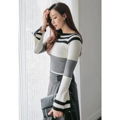 REDOPIN - Slit-Side Striped Knit Top