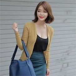 LIPHOP - V-Neck Ribbed Cardigan