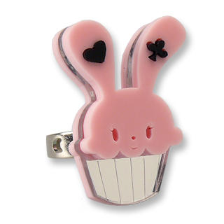 Sweet & Co. - Sweet Pink Bunny Cupcake of Heart Silver Ring