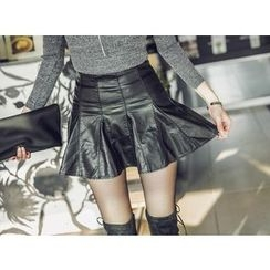 UUZONE - Faux-Leather Inset Shorts Skirt