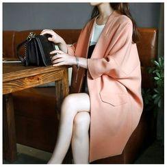 Ashlee - Dolman-Sleeve Open-Front Long Jacket