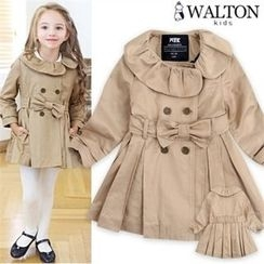 WALTON kids - Girls Double-Breasted Trench Coat with Sash