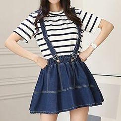 Sugar Town - Frilled Denim Jumper Skirt