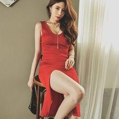 UUZONE - Sleeveless Slit-Front Dress