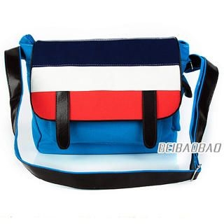 BeiBaoBao - Color-Block Flap Messenger Bag