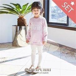 LILIPURRI - Set: Lettering Long T-Shirt + Plain Leggings