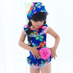 BOIE - Kids Set: Floral Print Swimdress + Swim Cap