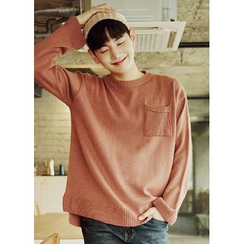 JOGUNSHOP - Crewneck Pocket-Front Sweater