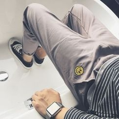 Soulcity - Smiley Embroidered Tapered Pants
