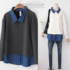 L.MAZEL - Inset Drop-Shoulder Top Denim Shirt