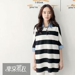 Tokyo Fashion - Elbow-Sleeve Striped Loose-Fit Top