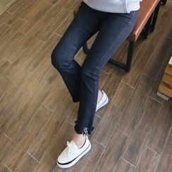 Envy Look - Fray-Hem Fleece-Lined Boot-Cut Pants