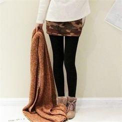 GLAM12 - Inset Camouflage Skirt Fleece-Lined Leggings