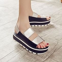 JY Shoes - Contrast Genuine Leather Platform Sandals