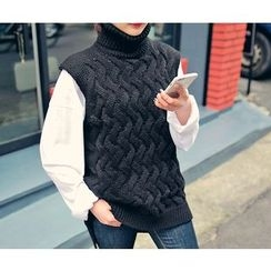 HOTPING - Turtle-Neck Cable-Knit Vest