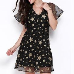 Obel - Short-Sleeve Star A-Line Dress