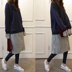 NIPONJJUYA - Inset Mock-Neck Pullover Stripe Shirtdress