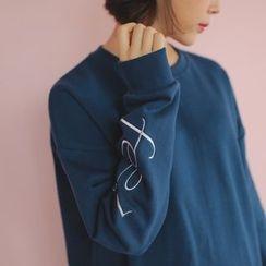 WITH IPUN - Lettering-Embroidered Top