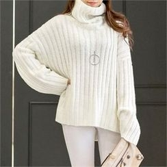 PIPPIN - Turtle-Neck Rib-Knit Top
