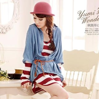YUMI - Drawstring-Waist Striped Hooded Dress