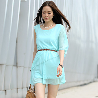 59 Seconds - Single Sleeve Layered Chiffon Dress (Belt not Included)