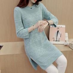 Bubbleknot - Elbow-Sleeve Pointelle Knit Dress