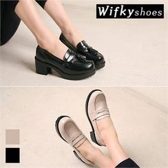 Wifky - Chunky-Heel Loafer Pumps (2 Designs)