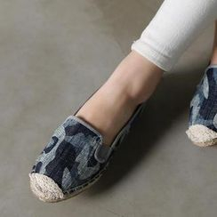 VIVIER - Lace-Detail Camouflage Slip-Ons
