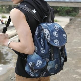 Free Shop - Skull-Print Denim Backpack