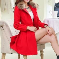 Donnae - Faux Fur Collar Woolen Coat