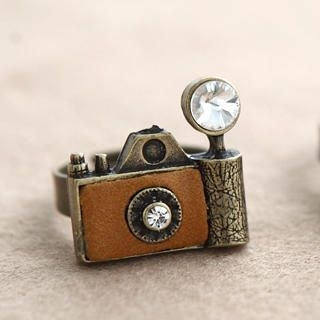 Cuteberry - Rhinestone Camera Adjustable Ring