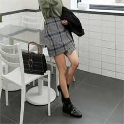 ZIZIBEZIRONG - Glen-Plaid Wool Blend Asymmetric Mini Skirt