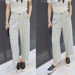 Angel Shine - Cropped Plaid Wide Leg Pants