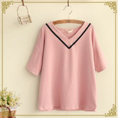 Fairyland - V-Neck Ribbon Trim T-Shirt