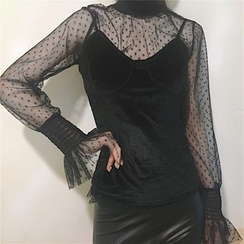 Tiny Times - Set: Dotted Long Sleeve Mesh Top + Camisole Top