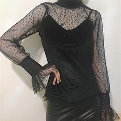 Tiny Times - 套裝: 圓點長袖網紗上衣 + 吊帶背心