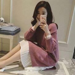 Ashlee - Long-Sleeve Slit Knit Dress