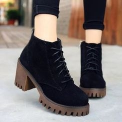 Micha - Lace-Up Chunky Heel Platform Ankle Boots