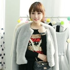Dodostyle - Faux-Fur Collarless Open-Front Jacket
