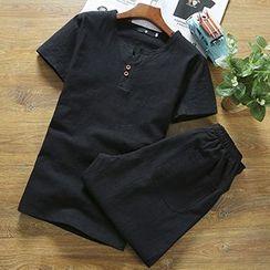 Gurun Vani - Set: Linen Short-Sleeve Henley + Shorts