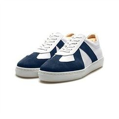 THE COVER - Genuine Leather Suede-Trim Sneakers