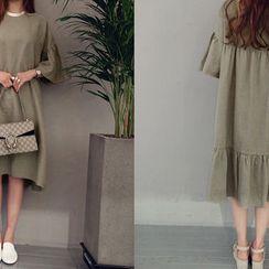 NANING9 - Ruffled-Trim Linen Blend Maxi Dress