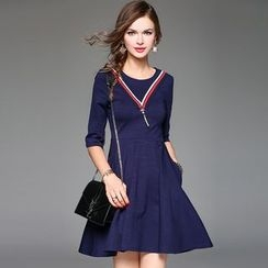 Queen Mulock - Striped A-Line Dress