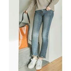 LOLOten - Brushed-Fleece Lined Semi Boot-Cut Jeans